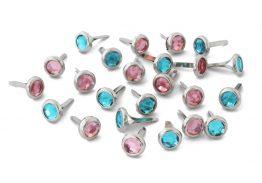 Ćwieki kryształki różowy i błękitny