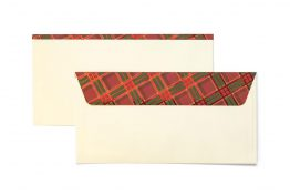 Decorative Envelope Checked Cream DL