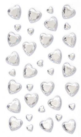 Kryształki Serca srebrne