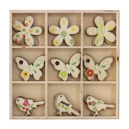 Wooden Elements Birds and Butterflies