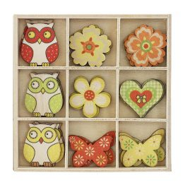 Wooden elements Owls and Flowers