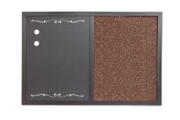Tablica 2w1 kredowo-magnetyczna i korkowa w ramie 60x40cm