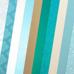 Набор картона декоративного Микс Голубые Тонации