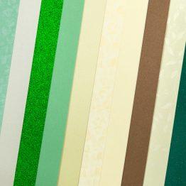 Набор картона декоративного Микс Элегантная Зелень