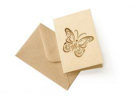 Zestaw z motylem Nature ciemnobeżowy (karnet+koperta 70x100mm)
