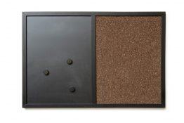 Tablica 2w1 kredowo-magnetyczna i korkowa w ramie 60x40cm (bez wzoru)
